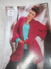 VINTAGE KNITTING PATTERN SIRDAR C8092 LADIES LONG RIB MOSAIC JACKET 30 - 40""